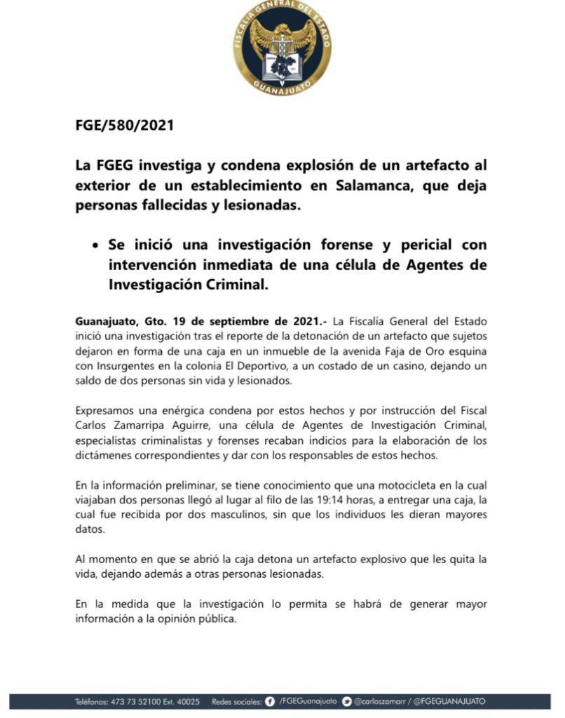 Comunicado FGR Narco Atentado